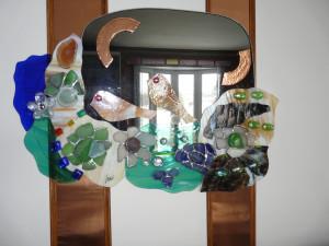 miroir_relief_fleurs en verre dépoli du fleuve de Sainte-Luce